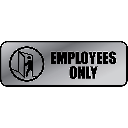"""Cosco Employees Only Indoor Wall Sign, 9.2""""L x 3.5""""H, Gray/Black (098206)"""
