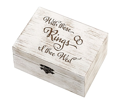 Lillian Rose Rustic Wedding Ring and Vow Box - I Thee Wed (RA510 IT)