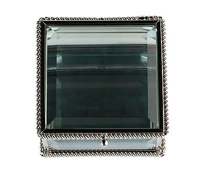 Lillian Rose Silver Square Glass Ring Box (RA200 B) 2621852
