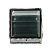 Lillian Rose Silver Square Glass Ring Box (RA200 B)
