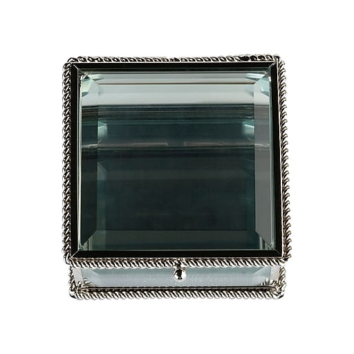Lillian Rose Silver Square Glass Ring Box (RA200 B)