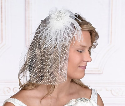 White Veil with Marabou Feather (JL246 W)
