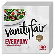 Vanity Fair Everyday Luncheon Napkins, 2-Ply, White, 100/Pack (35501)