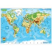 """Ashley Productions Smart Poly™ Learning Mats, 12"""" x 17"""", Double-Sided, World Physical Map, Pack of 10 (ASH95603)"""