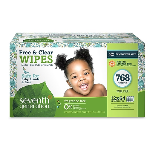 Seventh Generation Thick & Strong Free and Clear Baby Wipes Refill, 768  Count, Pack of 12 (34228)