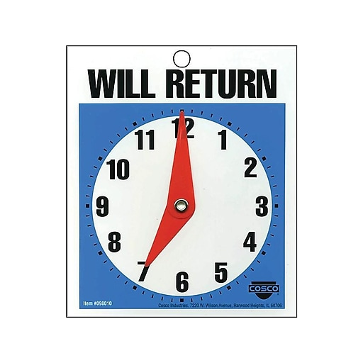 "Cosco® Open/Come In and Will Return with a Clock Indoor/Outdoor Door Sign, 5.25""L x 6""H, Multi Colors (098013)"