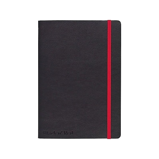 "Black N' Red Professional Notebook, 5.75""W x 8.25""L, Wide Ruled, 71 Sheets, Black (400065000)"