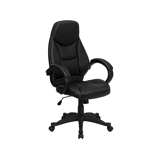 Flash Furniture Leather Computer and Desk Chair, Black (HHLC0005HI1B)