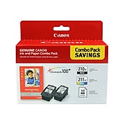 Canon PG-210 XL/CL-211 XL Combo Black/Color Ink Cartridges, High Yield, Photo Paper Value Pack (2973B004)