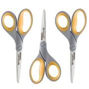 "Westcott Titanium Bonded 8"" Titanium Multi-Purpose/Heavy Duty Scissors, Sharp Tip, Gray/Yellow, 3/Box"