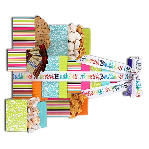 Happy Birthday Gift Tower By Gourmetgiftbaskets Com: Alder Creek Gift Baskets Happy Birthday Treats Tower