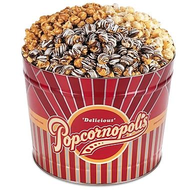 Popcornopolis Gourmet 2 Gallon Winter Tin, Caramel, Kettle, and Zebra, (DS1369)
