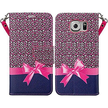Design Wallet Case for Samsung Galaxy S7 Edge, Pink Cheetah Bow (SAMLEA581)