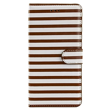 Wallet Stand Case for iPhone 6 Plus, Brown/White Stripe (APPLEA306)