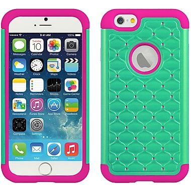 Elegant Diamond Back Cover with Additional Silicone Skin for Apple iPhone 6 6s , Green Pink (APLCRC736)