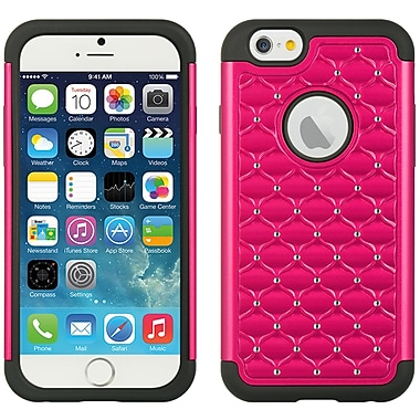 Elegant Diamond Back Cover with Additional Silicone Skin for Apple iPhone 6 6s , Pink Black (APLCRC734)
