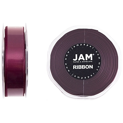 JAM Paper® Double Faced Satin Ribbon, 7/8 inch Wide x 25 yards, Burgundy, Sold Individually (807SAwi25)