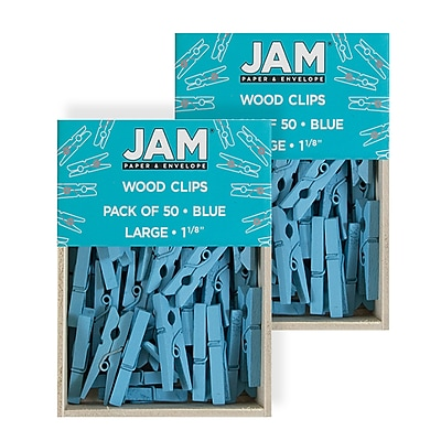 JAM PAPER Wood Clip Clothespins Small Assorted 1 Inch 40 Clothes Pins//Pack