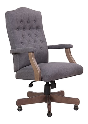 Boss® Executive Chair in Slate Grey with Driftwood Finish