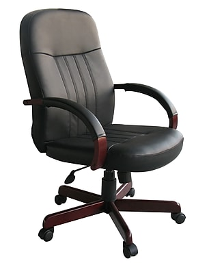 Boss LeatherPlus Exec. Chair with Mahogany Finish (B8376-M)