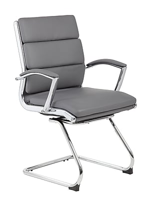 Boss Executive CaressoftPlus™ Guest Chair with Metal Chrome Finish (B9479-GY)