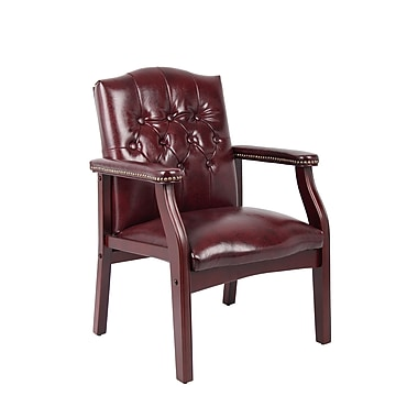 Boss – Chaise traditionnelle avec revêtement en vinyle Oxblood au fini acajou (B959-BY)