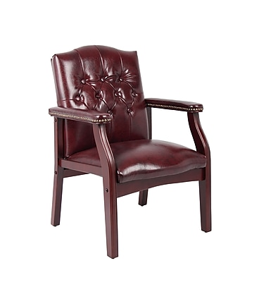 Boss Traditional Oxblood Vinyl Guest Chair with Mahogany Finish (B959-BY)