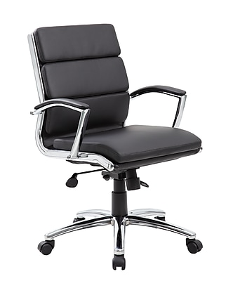 Boss Executive CaressoftPlus™ Chair with Metal Chrome Finish - Mid Back (B9476-BK)