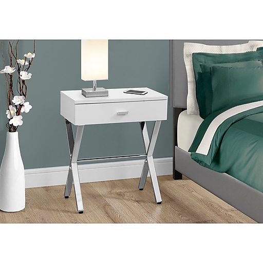 Monarch Specialties Accent Table Night Stand Glossy White(I 3262)