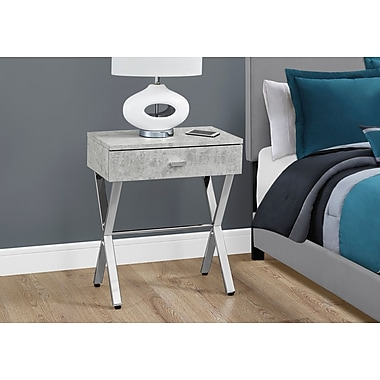 Monarch Specialties Accent Table Night Stand Grey Cement Look (I 3264)