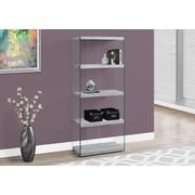 """Monarch Specialties 60""""H Bookcase With 4 Shelves In Grey Cement / Tempered Glass (I 3233)"""