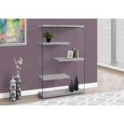 """Monarch Specialties 60""""H Bookcase With 4 Shelves In Grey Cement / Tempered Glass (I 3234)"""