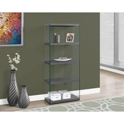 """Monarch Specialties 60""""H Bookcase With 4 Shelves In Grey / Tempered Glass (I 3223)"""