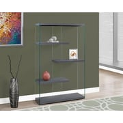 """Monarch Specialties 60""""H Bookcase With 4 Shelves In Grey / Tempered Glass (I 3224)"""