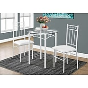 Monarch Specialties 3 Piece Dining Set In White / Tempered Glass