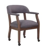 Boss Modern Captain's Chair in Slate Grade Commercial Grade Linen with Casters (B9545DW-SG)