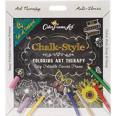 Adult Coloring Foldable Canvas Frame Assortment 4/Pkg-Black Be Happy (B1619)