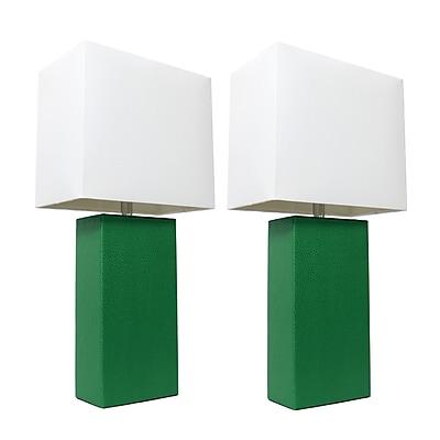 Elegant Designs Incandescent Table Lamp Set, Green (LC2000-GRN-2PK)