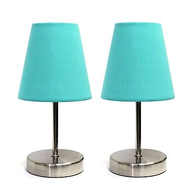 Simple Designs Incandescent Table Lamp Set, Blue (LT2013-BLU-2PK)