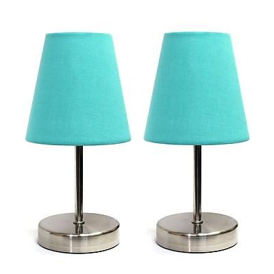 Simple Designs Incandescent Table Lamp Set, Blue (LT2013-BLU-2PK)