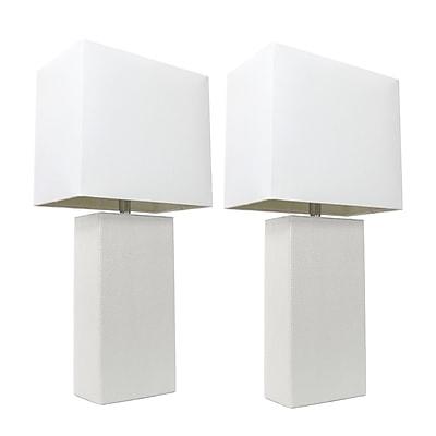 Elegant Designs Incandescent Table Lamp Set, White (LC2000-WHT-2PK)