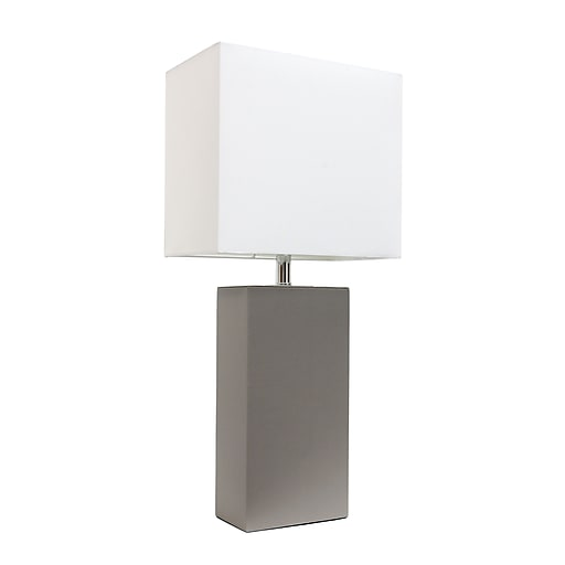 Elegant Designs Incandescent Leather Table Lamp, Gray (LT1025-GRY)