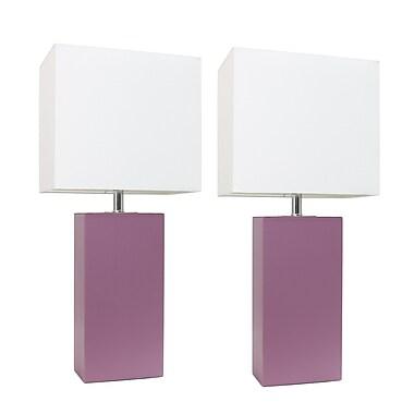 Elegant Designs Incandescent Table Lamp Set, Purple (LC2000-PRP-2PK)