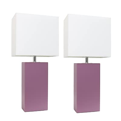 Elegant Designs Incandescent Table Lamp Set, Purple (LC2000-PRP-2PK)