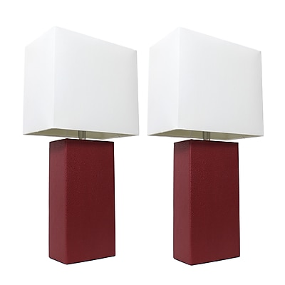 Elegant Designs Incandescent Table Lamp Set, Red (LC2000-RED-2PK)