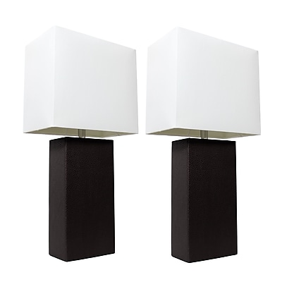 Elegant Designs Incandescent Table Lamp Set, Black(LC2000-BLK-2PK)