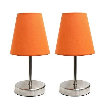 Simple Designs Incandescent Table Lamp Set, Orange (LT2013-ORG-2PK)