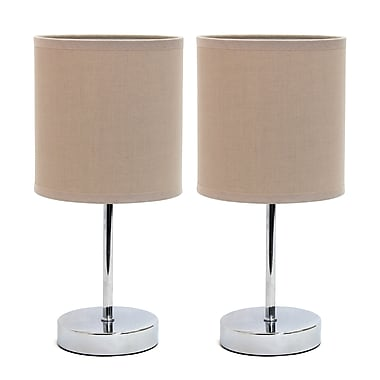 Simple Designs Incandescent Table Lamp Set, Grey (LT2007-GRY-2PK)