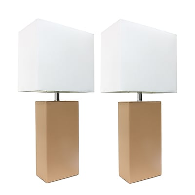 Elegant Designs Incandescent Table Lamp Set, Beige (LC2000-BGE-2PK)