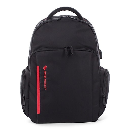 Swiss Mobility Stride Backpack, Polyester, Black (BKP1017SMBK)